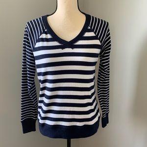 Eddie Bauer Navy blue & white stripped sweater
